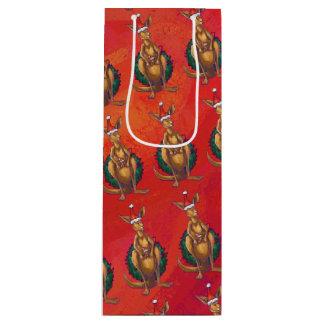 Kangaroo Xmas On Red Wine Gift Bag