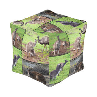 Kangaroos In A Photo Collage, Pouf