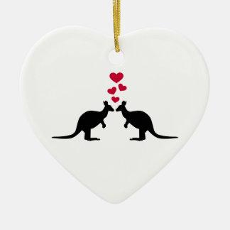 Kangaroos red hearts love ceramic ornament