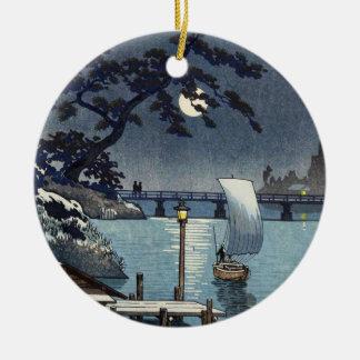 Kangetsu Bridge, Shimonoseki on Early Autumn Round Ceramic Ornament