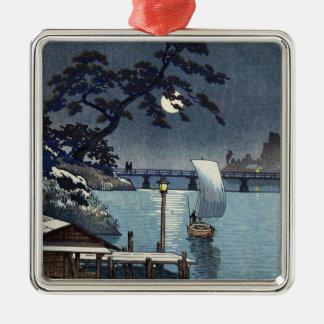 Kangetsu Bridge, Shimonoseki on Early Autumn Silver-Colored Square Ornament