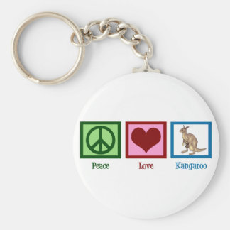 Kangourou d'amour de paix porte-clé rond