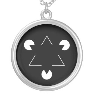 Kanizsa triangle silver plated necklace