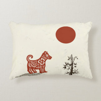 Kanji Dog on Beige Decorative Pillow