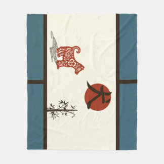 Kanji Dog on Blue Barred Fleece Blanket