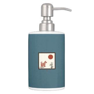 Kanji Dog Tile Soap Dispenser And Toothbrush Holder