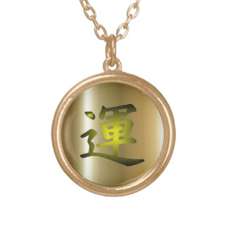 Kanji Luck Gold Finish Necklace