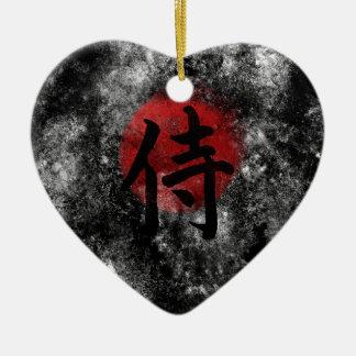Kanji Samurai Grunge 2 Ceramic Ornament