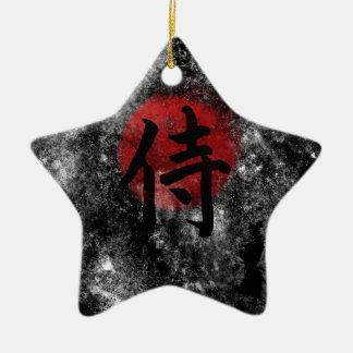 Kanji Samurai Grunge 2 Ceramic Star Ornament