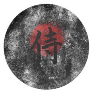 Kanji Samurai Grunge 2 Plate