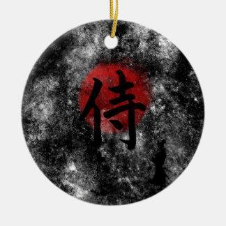 Kanji Samurai Grunge 2 Round Ceramic Ornament