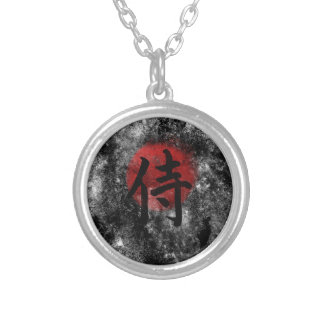 Kanji Samurai Grunge 2 Silver Plated Necklace