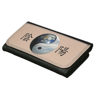 Kanji with Earth & Sky Yin Yang Leather Wallet