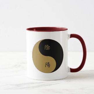 Kanji Yin Yang brown n black Mug