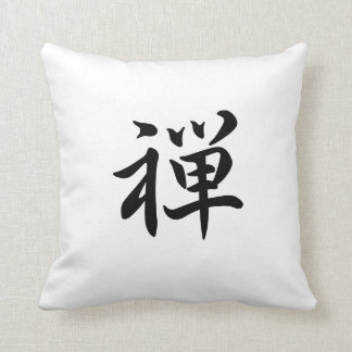 kanji  zen throw pillow