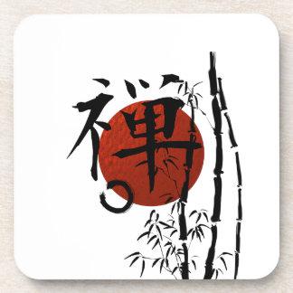 Kanji Zen with Enso and Bamboo Coaster
