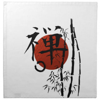 Kanji Zen with Enso and Bamboo Napkin