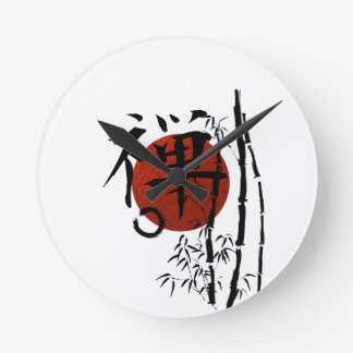 Kanji Zen with Enso and Bamboo Round Clock