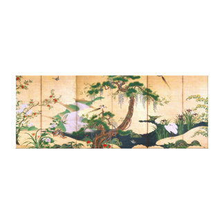 Kano Eino Birds and Flowers of Spring and Summer Canvas Print