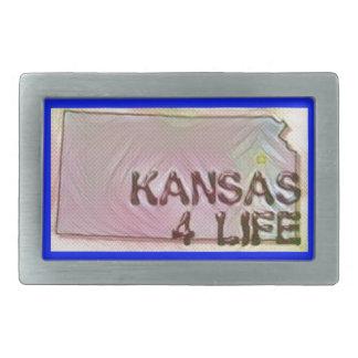 """Kansas 4 Life"" State Map Pride Design Belt Buckles"