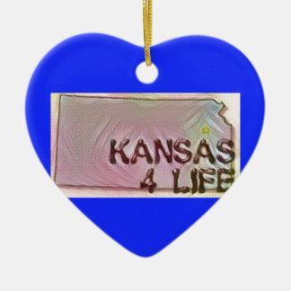 """Kansas 4 Life"" State Map Pride Design Ceramic Ornament"