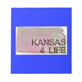 """Kansas 4 Life"" State Map Pride Design Notepad"