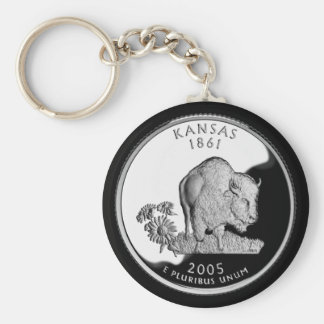 KANSAS BASIC ROUND BUTTON KEYCHAIN