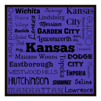 Kansas cities typography art poster