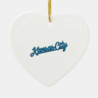 Kansas City in cyan Ceramic Ornament