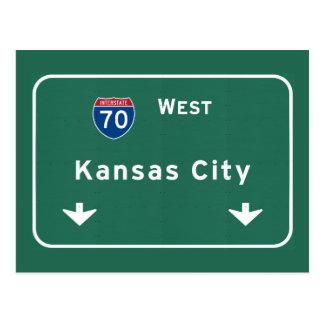 Kansas City KC Missouri Interstate Highway Freeway Postcard