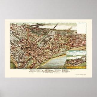 Kansas City, KS Panoramic Map - 1895 Poster