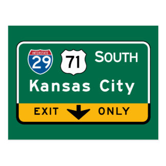 Kansas City, KS Road Sign Postcard