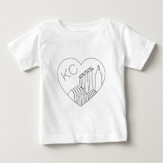 Kansas City - Minimalist Line Art Skyline Heart Baby T-Shirt