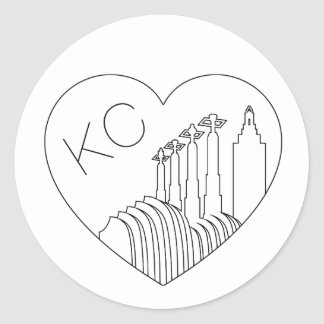 Kansas City - Minimalist Line Art Skyline Heart Round Sticker