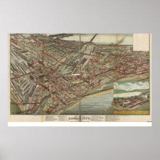 Kansas City Missouri 1895 Antique Panoramic Map Poster