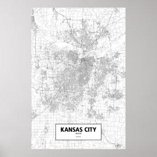 Kansas City, Missouri (black on white) Poster