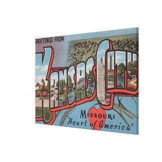 Kansas City Missouri Heart Stretched Canvas Prints