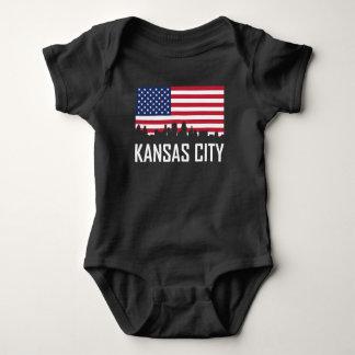 Kansas City Missouri Skyline American Flag Baby Bodysuit