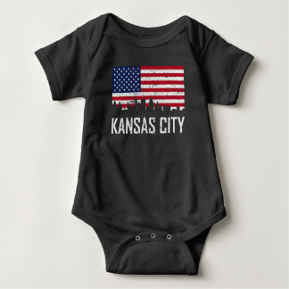 Kansas City Missouri Skyline American Flag Distres Baby Bodysuit
