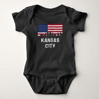 Kansas City MO American Flag Skyline Distressed Baby Bodysuit