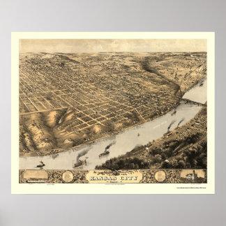 Kansas City, MO Panoramic Map - 1869 Poster
