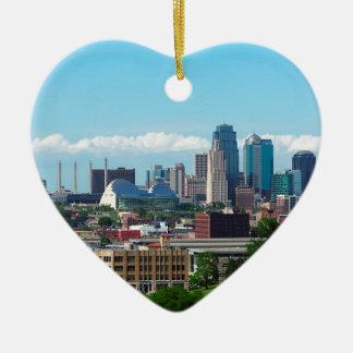 Kansas City Skyline Ceramic Ornament