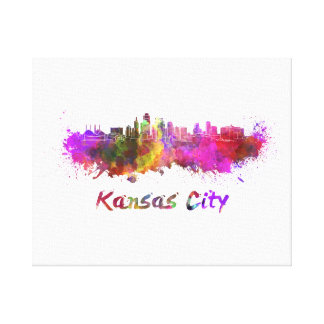 Kansas City skyline in watercolor Canvas Print