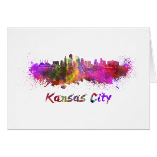 Kansas City skyline in watercolor Card