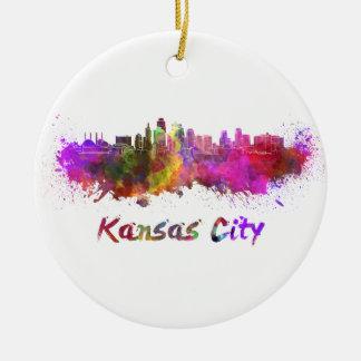 Kansas City skyline in watercolor Round Ceramic Ornament