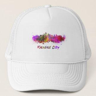 Kansas City skyline in watercolor Trucker Hat