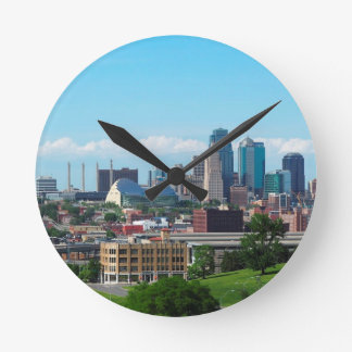Kansas City Skyline Round Clock