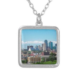 Kansas City Skyline Silver Plated Necklace