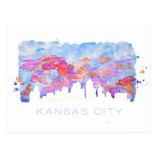 Kansas City Skyline Watercolor Postcard