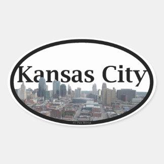 Kansas City Skyline with Kansas City in the Sky Oval Sticker